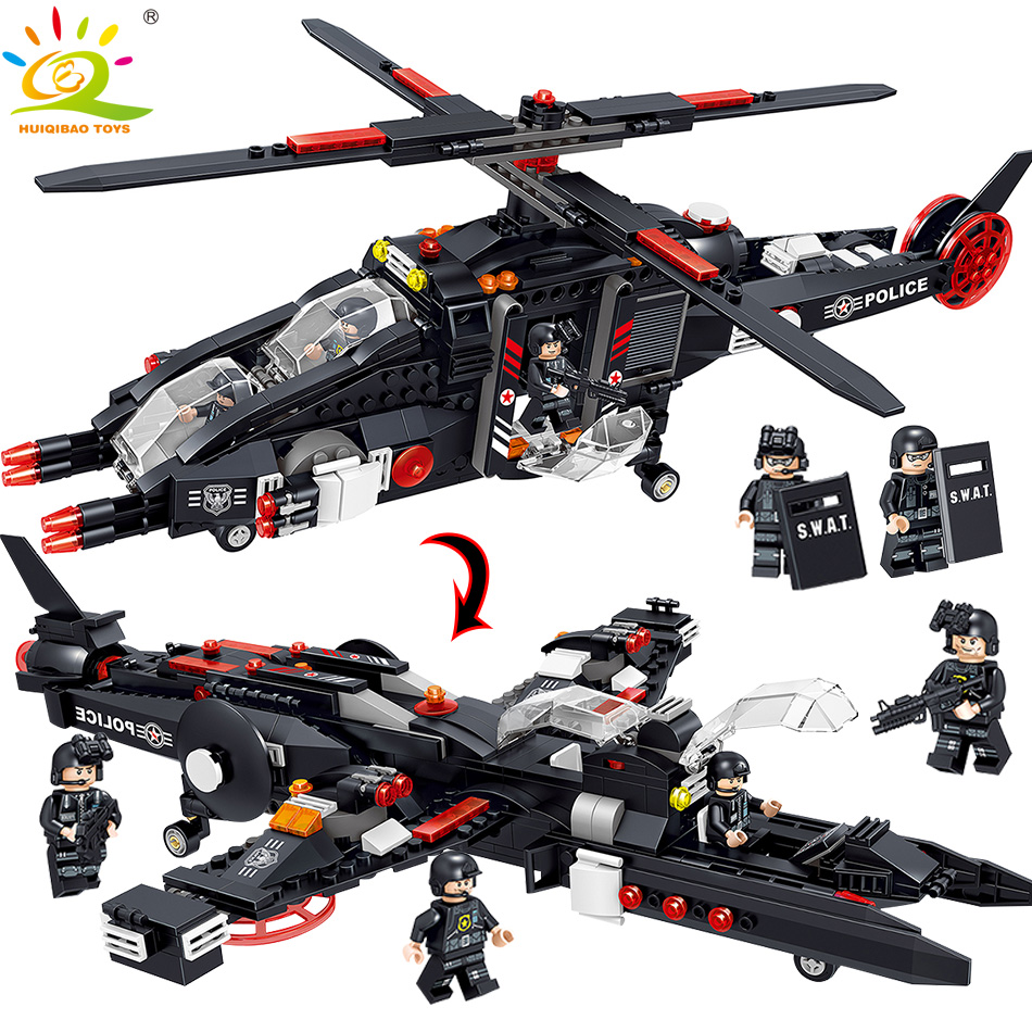577PCS SWAT Police Helicopter Warship Building Blocks Compatible legoed City Soldier Figure Bricks Educational Toys for Children цена