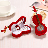 1PC Red Color Unique Violin Design Velvet Cloth Jewelry Display Gift Boxes Wedding Ring Earrings Necklace