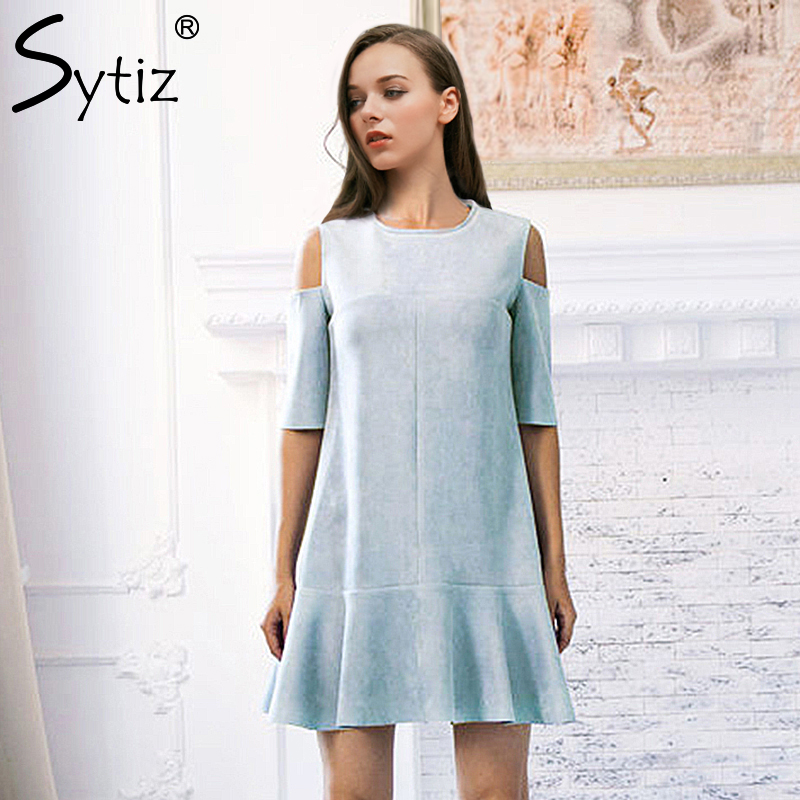 Sytiz Cold Shoulder Dress Sexy Ruffle Suede 2017 Summer