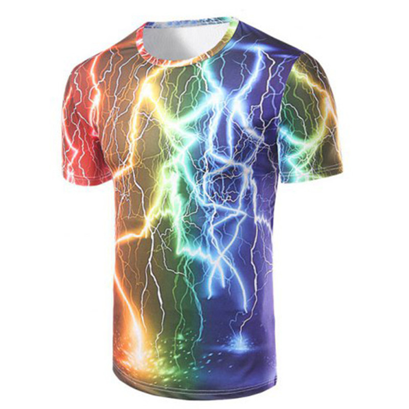 3D Print Novelty T Shirts Women Casual Tshirts Quick Dry T-Shirts Colorful Rainbow thunder and lightening Clothing TS231