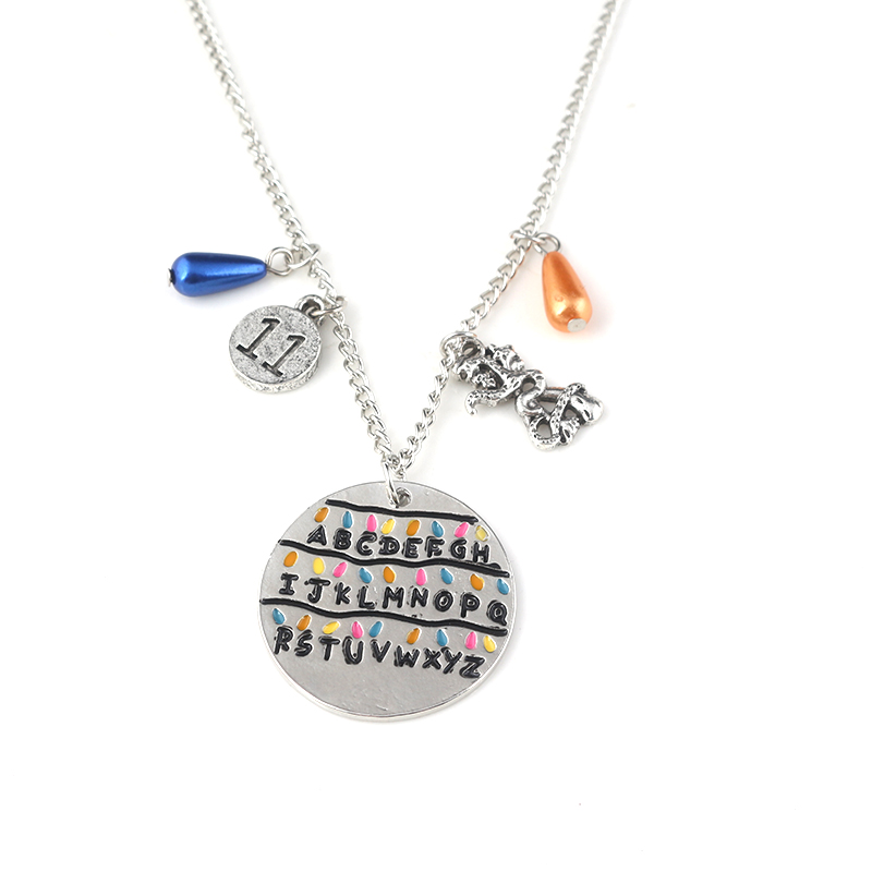 5 Styles Stranger Things Pendant Necklace 11 Letter Alphabet Light Wall Beads Charm Choker Necklace Women Men Jewelry