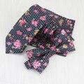 Negro blanco dot pequeña flor rota corbata y diseño de la flor roja nueva moda de lujo de los hombres corbata estrecha bowtie