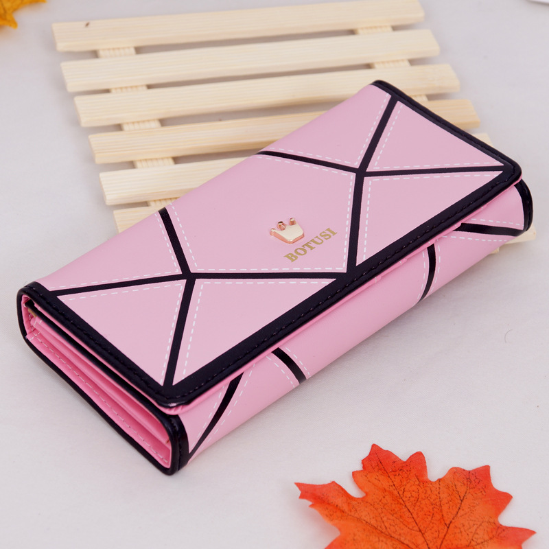 Free Shipping Geometric Women Wallet Female Long Purse Large Capacity Coin Wallet Purse Brand New Fashion Phone Clutch 2016 new fashion women wallet matte stitching women long brand purse clutch 6colour handbag wristlet free shipping