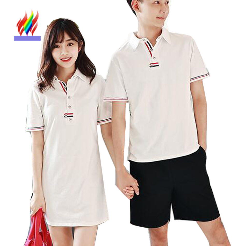 Couple clothes lovers t shirt women summer short sleeve for Couple polo shirts online