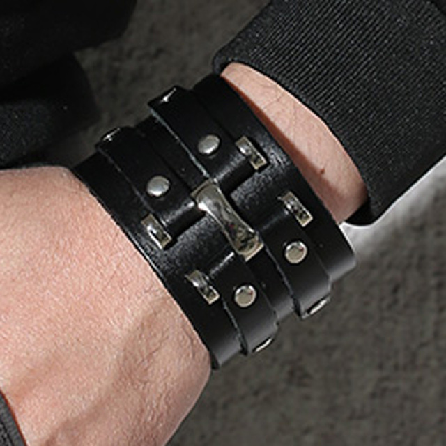 Wide Black Handmade Leather Cuff Bracelet With 2 Studded Strips Double Metal Men Wristband Male Jewelry