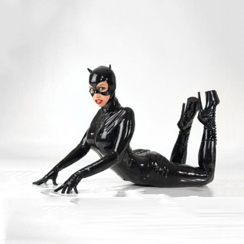 Women Sexy Black Leather Catsuit Costume Catwoman Cosplay Adult Ladies Halloween Cat Cosplay Jumpsuit Fantasia Outfit With Mask