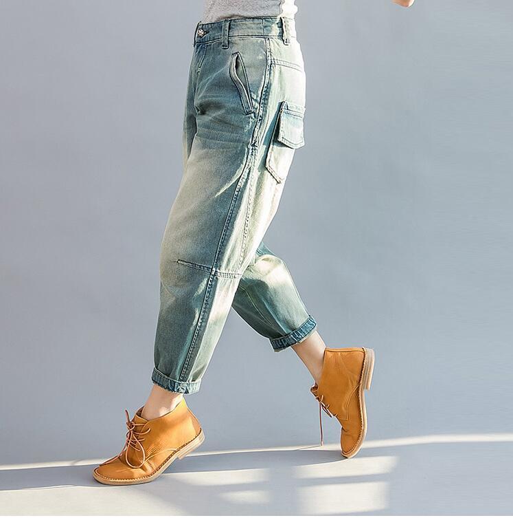 Moda Harem De Algodón Nuevo Denim Vintage Cintura Mujer Harem Azul Y85 Pantalones Mediados Casual 2019 Jeans qzqwI8g