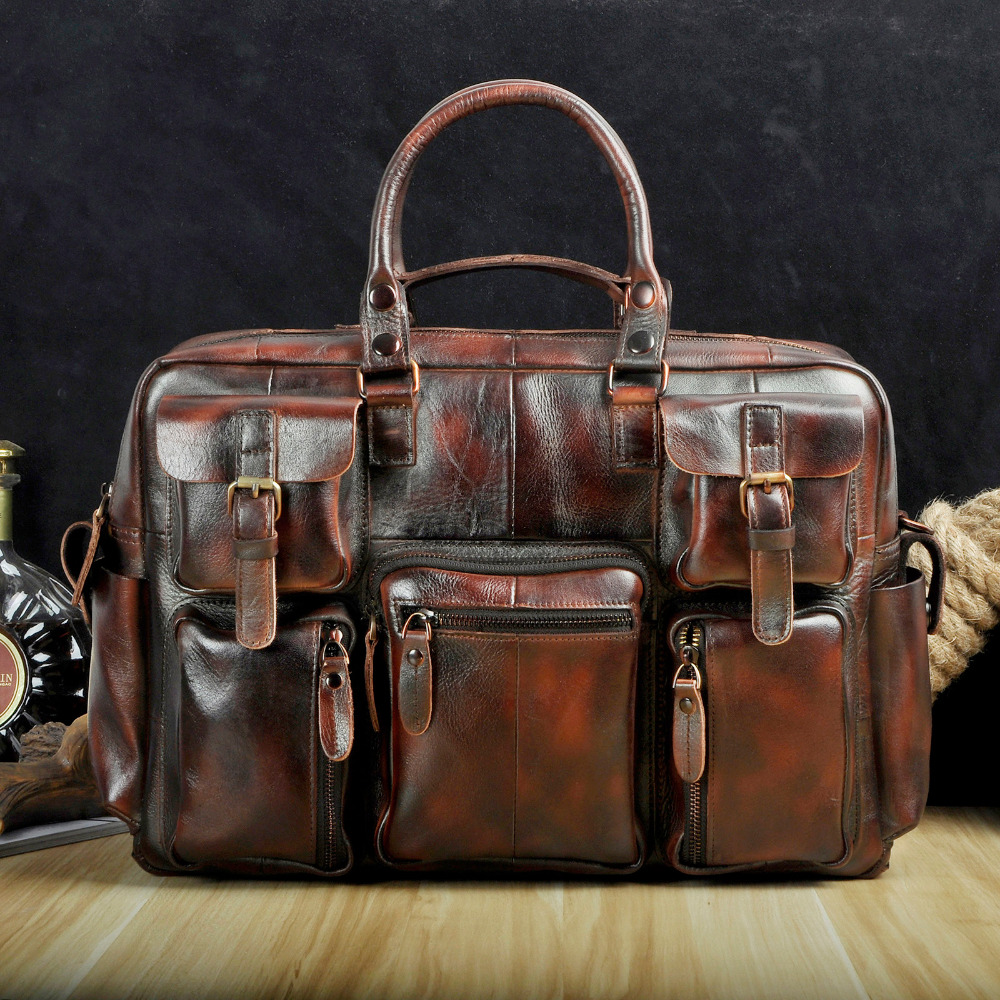 Original Leather Antique Large Capacity Men Briefcase Business 15.6