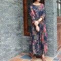 2016 Женщины Винтаж Свободные Цветочный Принт Dress Ретро Удобные Промывают Двойной Слой Хлопка Свободные Цветочный Печати Плюс Размер Dress