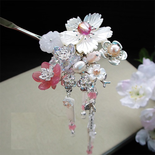 ФОТО Shell Flower Glaze Petal Hair Stick Vintage Chinese Hanfu Costume Accessories Tassel Hair Stick