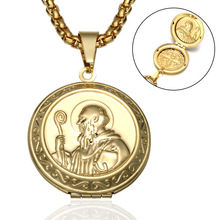 Catholic St. Benedict Pendant Necklace Men Locket Choker Amulet Hip Hop Jewelry Titanium Stainless Steel Dog Tag Male Gold ZE003