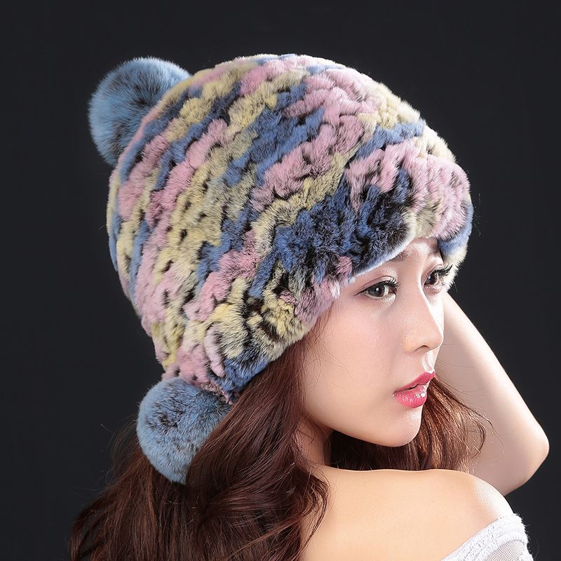 Fur Hat Winter 2017 Fashion  Natural Rex Rabbit Fur Winter Hats For Women Fashion Cap Warm Beanies Lady Earflap Caps