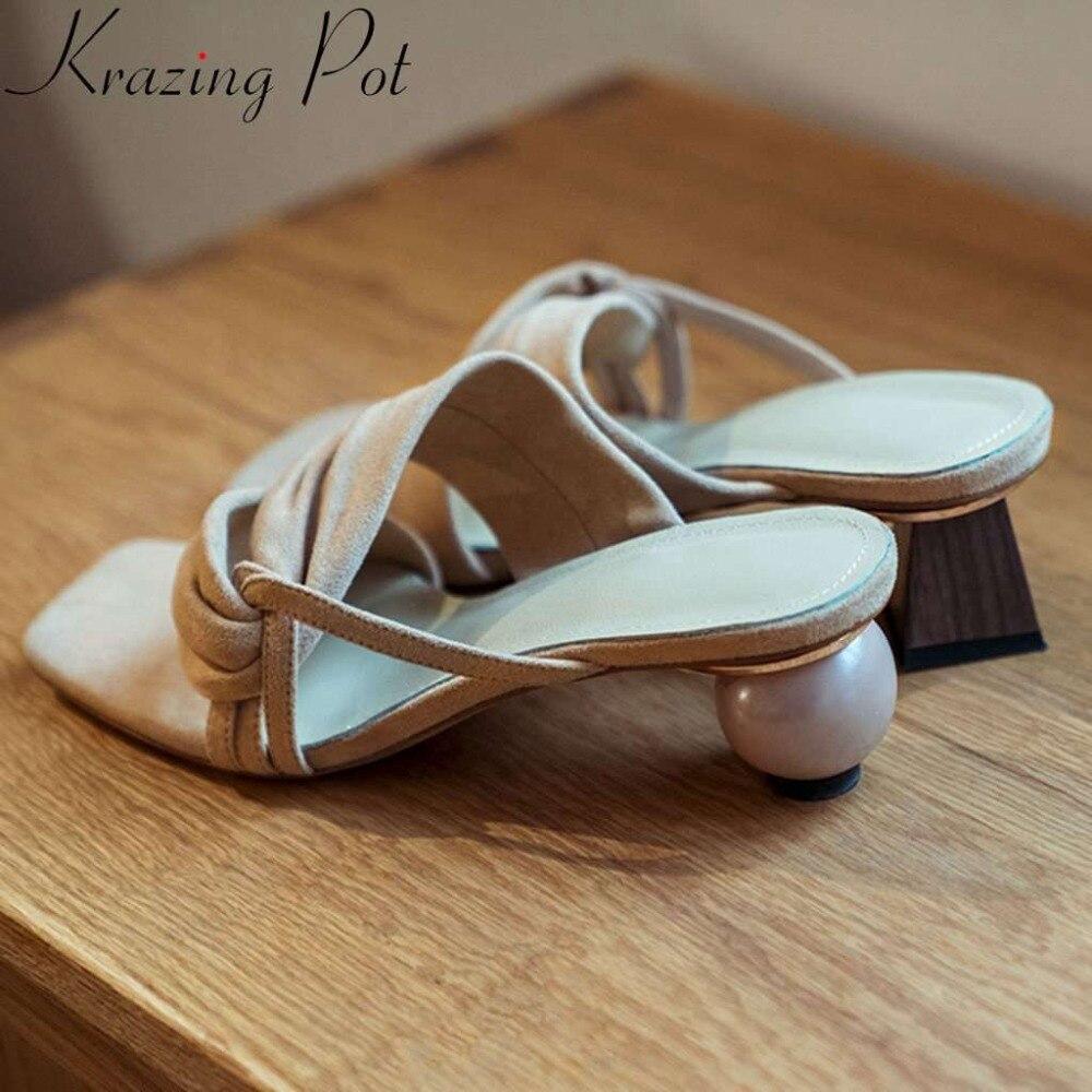 Krazing 냄비 빈티지 이상한 스타일의 예술 디자인 낮은 발 뒤꿈치 전체 곡물 가죽 엿봄 광장 발가락 노새 파티 데이트 여성 샌들 l07-에서로우힐부터 신발 의  그룹 1