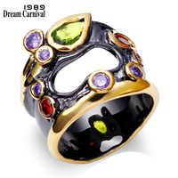 DreamCarnival 1989 Unique Vintage Rings For Women Multi Colors Synthetic Cubic Zirconia Bezel Pierced Black Gold-color Anillos