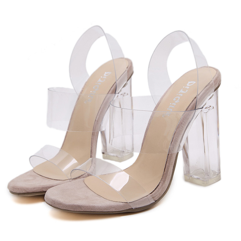 21f273100d34 DiJiGirls Woman Sandals Clear Heels Transparent shoes female Crystal sandal  High Heels Open Toe Thick Heel Sandals wedding shoes-in High Heels from  Shoes on ...