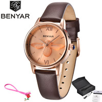 Benyar Luxury Brand Dress Women Watches Steel Gold Lovers Bracelet Wristwatch Clock Quartz Ladies Watch Relogio