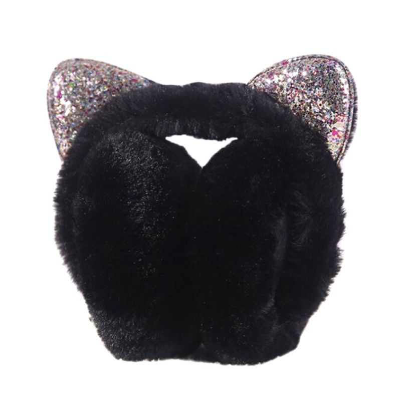 Women Girls Hamburger Shape Foldable Earmuffs Faux Fur Candy Color Cute Glitter Sequins Cat Ears Earflap Ear Cover