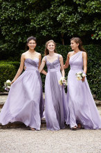 2016 New Honor Of Brides Bridesmaid Dresses Wedding Guest Gown With One Shoulder Lilac Chiffon Long Pleats Cheap
