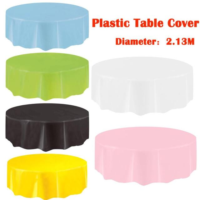 1 Pc Disposable Large Plastic Circular Table Cloth Bar Wipe Clean
