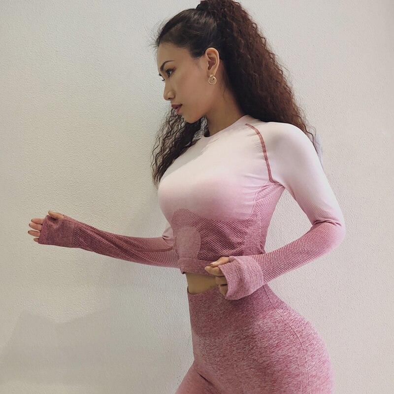 Frauen Yoga Set Gymnastik Kleidung Ombre Nahtlose Leggings + Cropped Shirts Workout Sport Anzug Frauen Langarm Fitness Set Aktive tragen