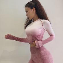 Kobiety Joga zestaw Gym Odzież Ombre bezszwowe legginsy + przycięte koszule Workout Sport Suit kobiety długi rękaw fitness zestaw Active Wear tanie tanio Yoga Nylon Pełne Drukowania Compressed Anti-Shrink Anti-Wrinkle Breathable Anti-Pilling Quick Dry souteam Pasuje do rozmiaru Weź swój normalny rozmiar