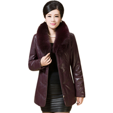 MEBOSYA 2016 Plus Size Winter Parka XL-6XL Womens Winter Jackets and Coats Fur Collar Fiber PU Jacket Women Winter Jacket