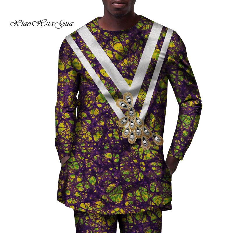 2019 Spring&autumn African Set For Men Tailor Made Full Sleeve Long Top And Full Length Pants Men's Casual Set Wyn840