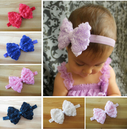 Fashion Hot Sale Colourful Kids Girl Kid Headband Bow Lace Flower Hairband 10 Colors Drop Shipping A187