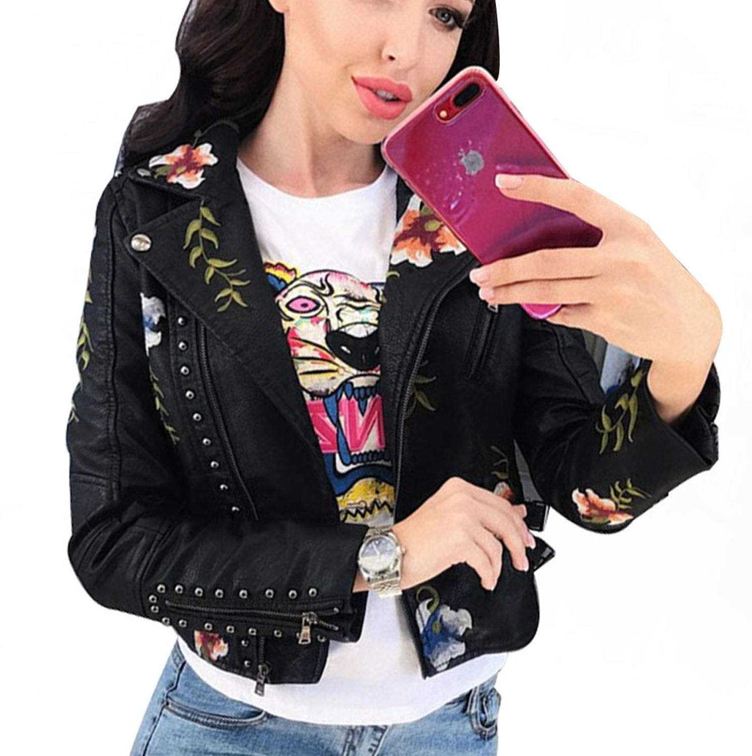 Spring Ladies Premium Quality Short   Leather   Jacket Coat Floral Embroidery Rivet Stud Punk Retro Slim   Leather   Jacket Women PY13