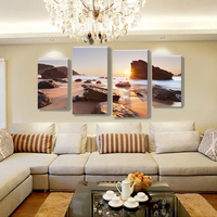 Free Shopping Modern Scenery Beautiful High Definition Printing 4 Panel Painting The Living Room On The