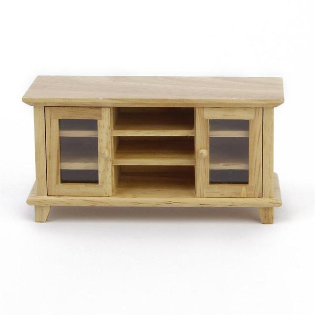 US $9 2 28% OFF|1:12 Doll House Miniature Furniture Wooden TV Cabinet  Living Room Set Wooden Make Up Dollhouse Furniture Accessories-in Party  Favors