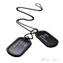 Hot Military Army Style Black 2 Dog Tags Pendant Sweater Chain Necklace Men's Jewelry(China)