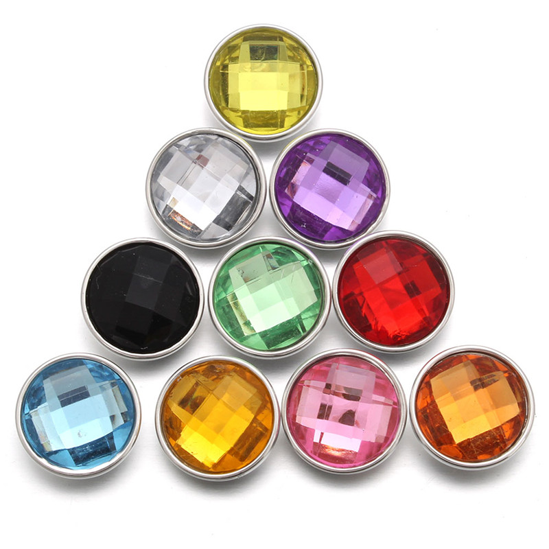 10pcs/lot Random 18mm Glass Snap Buttons DIY Jewelry For Bracelet Bangles For Women image
