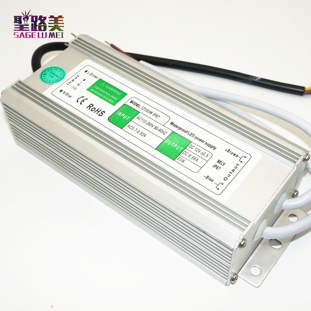 2017 Direct Selling Real Best Price Dc12v 80w Waterproof Electronic Led Driver Transformer Power Supply Outdoor Ip67 Strip Lamp