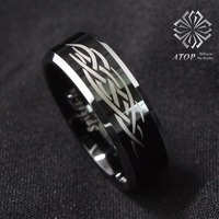 Tungsten ring figure black polished sliver Beveled Wedding Band men's Ring jewelry Free Shipping