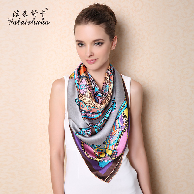 100% Natural Silk Square Scarves Women Fashion Printed Pure Silk Scarf Shawl Large Size 110cm x 110cm Sunscreen Shawls F513