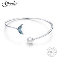 d9abc8473f5f Geoki de Plata de Ley 925 CZ verde cola de sirena pulsera S925 perla  brazalete de brazalete abierto para las mujeres cadena de m.