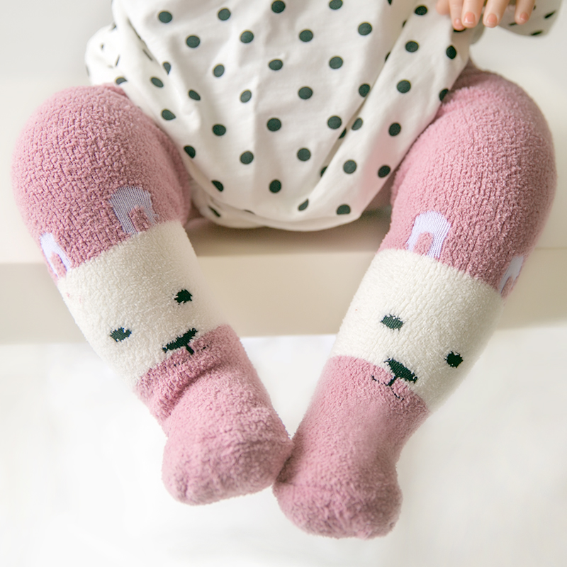0-3years old Infant Winter Coral fleece tights&stocking For Baby Boys Girls pantynose Cute Cartoon Shaped Panty-hose
