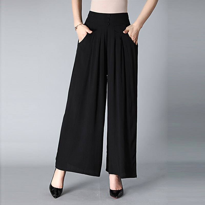 4XL Trousers Women High Waist Long Chiffon   Pants   Pockets Loose Pleated Soft Office   Wide     Leg     Pants   Party Palazzo Plus Size