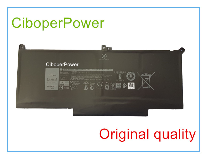Original Laptop Battery 7.6V 60WH 7500MAH F3YGT Battery For 12 7000 7280 7480 2X39G