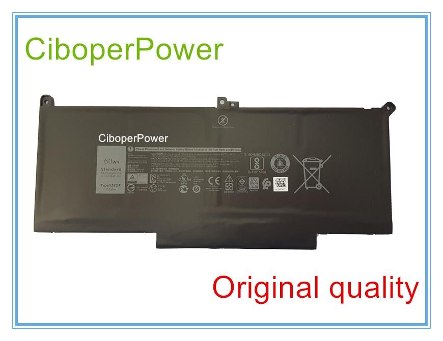 Original Laptop Battery 7.6V 60WH 7500MAH F3YGT Battery For 12 7000 7280 7480 2X39G