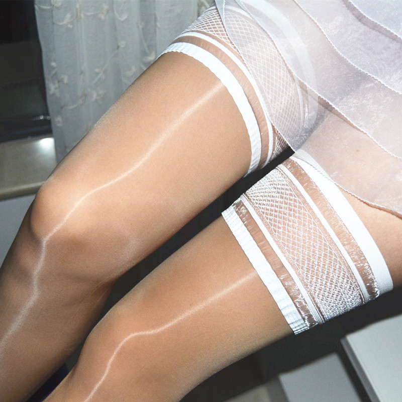 Sexy Glossy Sheer Wet Look Thigh High Stockings With Stay Up Mesh Top High Elastic Oil Thigh-Highs Nylons Hosiery Stage Dance