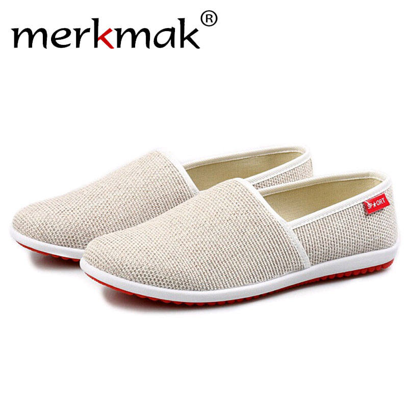 Merkmak Casual Shoes Men Flats Summer Beach Breathable Slipper Handmade Hemp Men Casual Light Soft Slip-on Loafers Driving Shoes summer casual shoes men loafers comfortable slip on flat shoes breathable canvas shoes fashion solid soft light driving footwear