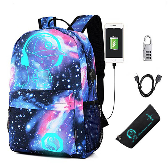7f2dd27fe679 US $19.88 25% OFF|2018 New Children Backpack with USB Charging Port and  Lock Boy Girls School Backpack Primary Middle School Bag Luminous  Printing-in ...