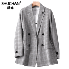 Shuchan Women's Jacket Plaid Double Breasted Blazer Feminino Double Breasted Notched England Style Jacket Women Autumn VS19B255