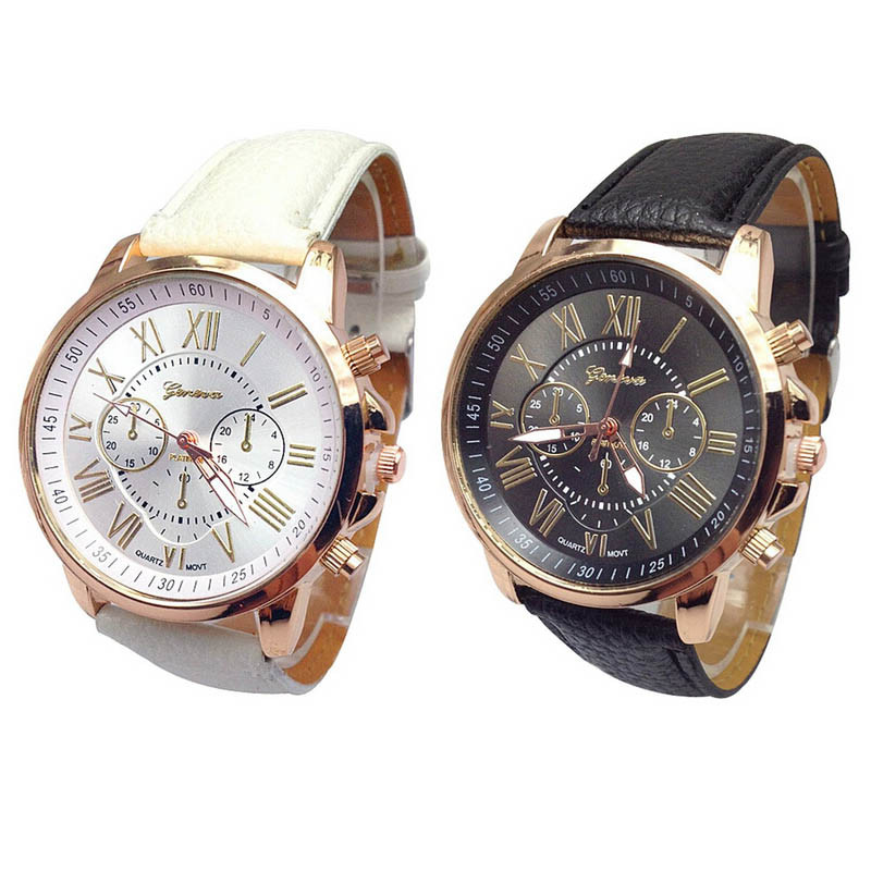 Fashion Casual Unisex Couple Watch Black White Women And Men Roman Numerals Faux Leather Analog Quartz Watch Love Gift *60
