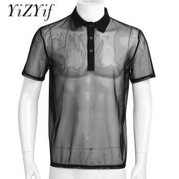 YiZYiF Sexy Mens Mesh Clubwear T Shirts Super Soft Mesh Undershirt See-Through Breathable Men T-Shirt Sexy Tops Dance Wear 1
