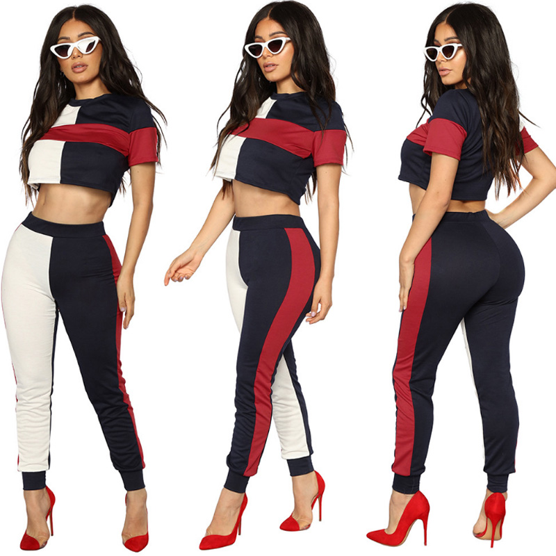 Women Two Piece Set Female Patch Tracksuit T Shirt Top Tee+Long Pants Ladies Short Sleeve Outfit Femme Sporting Suits Sweatsuit