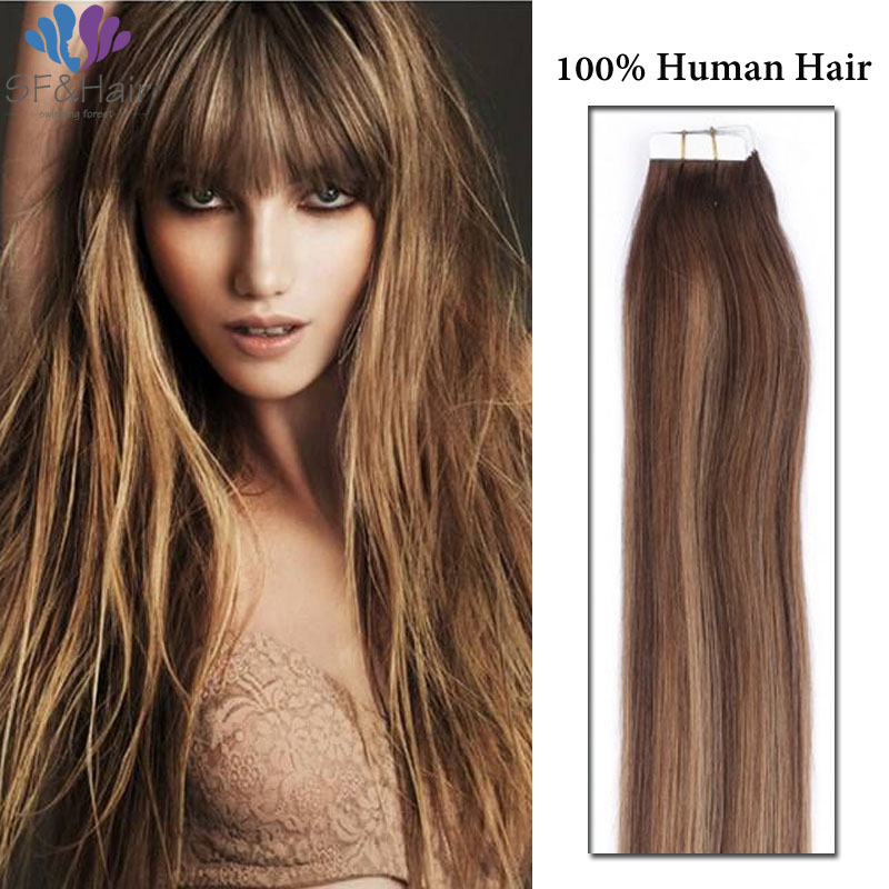 P427 Piano Color Hair Us Tape In Human Hair Extensions Remy