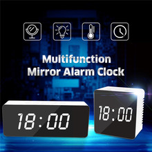 Digoo DG-DM1 Wireless USB Mirror LED Digital Therometer Time Temperature Night Mode Lights Black Snooze Alarm Clock